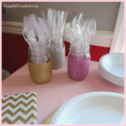 DIY Glitter Jars for Party Silverware | HappilyFrazzled.com