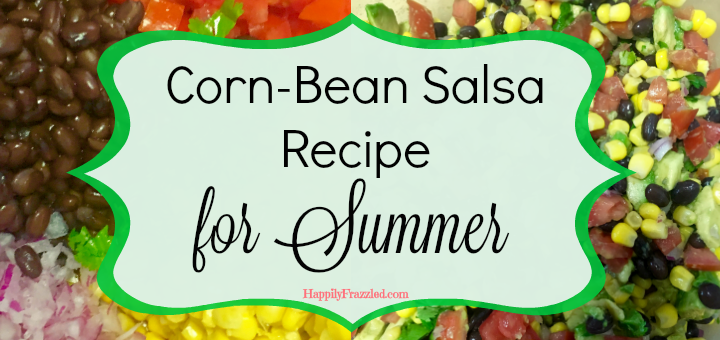 This corn-bean salsa recipe is fresh and healthy, mixed with tomato, onion, AVOCADO, and more! It's a perfect appetizer to bring along to a bbq or to serve poolside for a great summer snack.