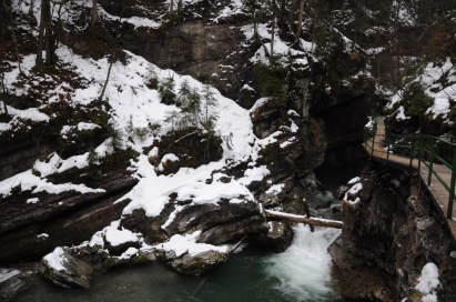 mountain river in winter+