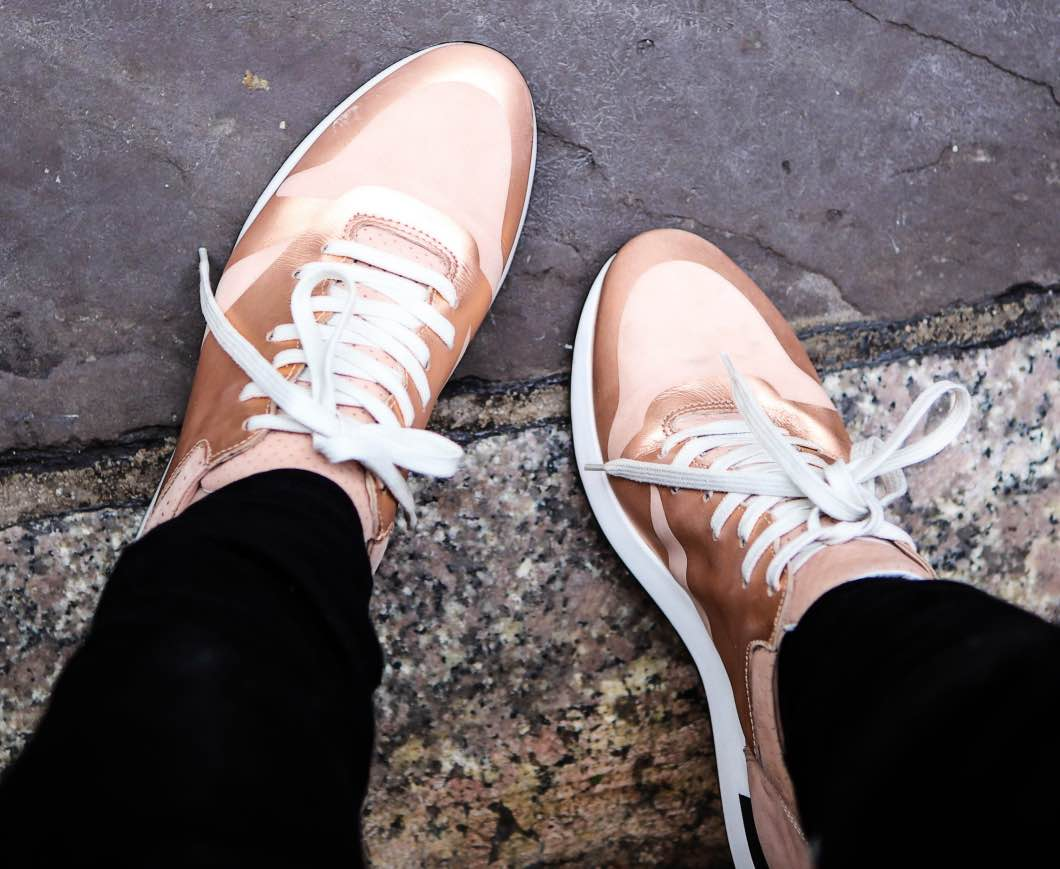 Rose Gold Suede Sneakers