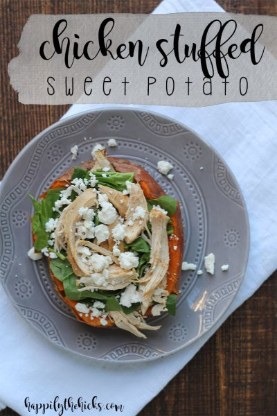 Chicken Stuffed Sweet Potato | read more at happilythehicks.com