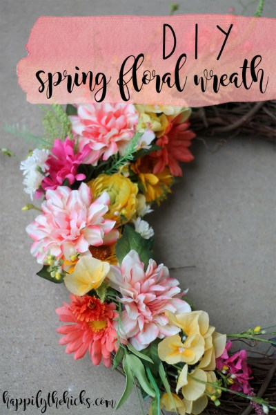 DIY Spring Floral Wreath | read more at happilythehicks.com