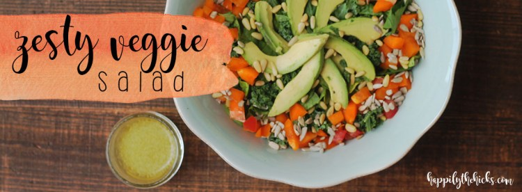 Zesty Veggie Salad | read more at happilythehicks.com