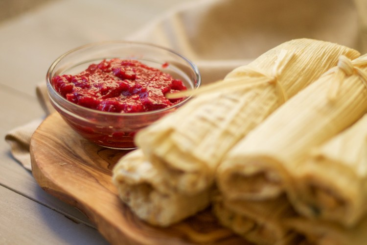 Turkey Dinner Tamales with Chipotle Cranberry Sauce | read more at happilythehicks.com