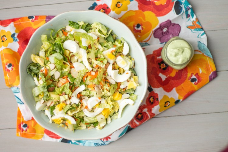 You'll love this delicious Chopped Salad with Avocado Greek Yogurt Dressing. Check out the post for more healthy food swaps you will love!   read more at happilythehicks.com