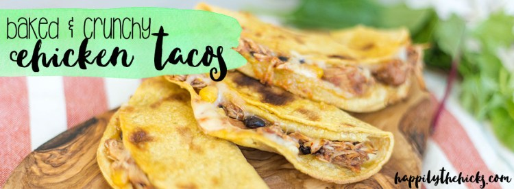 These baked & crunchy chicken tacos are so easy to throw together, and make DELICIOUS lunches. | read more at happilythehicks.com