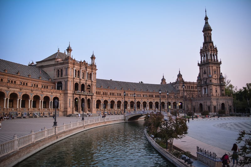 The Plaza de España in the warm glow of evening light