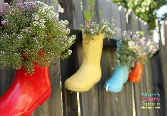 Recycled Rainboot Planters Happiness Is Homemade