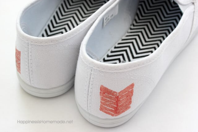 Fabric Paint Stamped Toms Shoes
