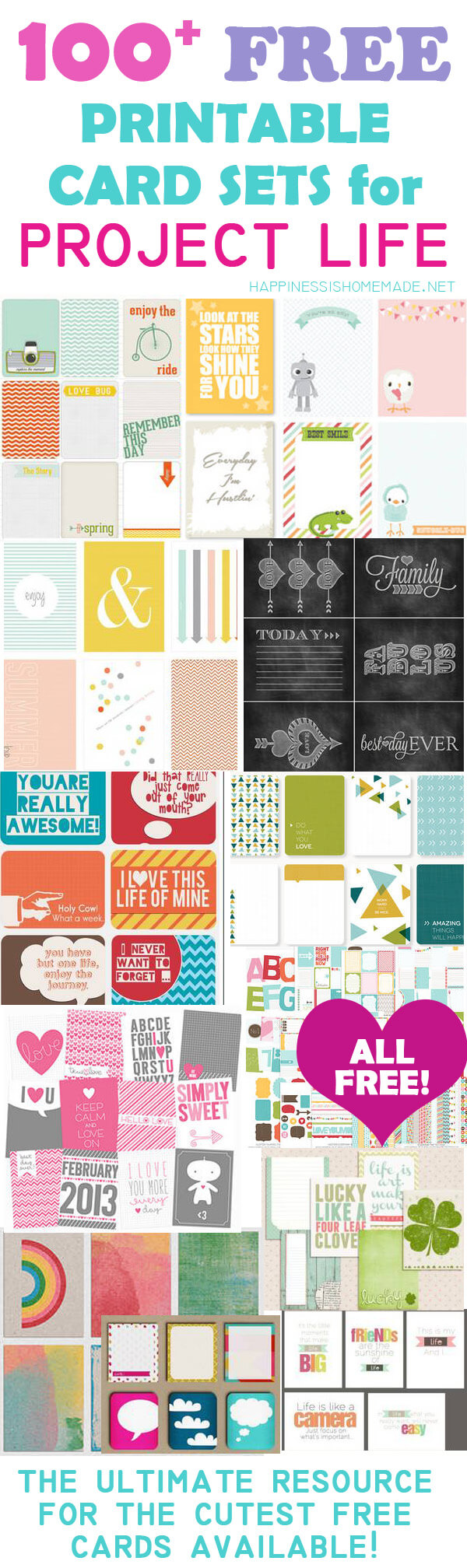 100 Free Printable Project Life Journaling Card Insert Sets Happiness Is Homemade