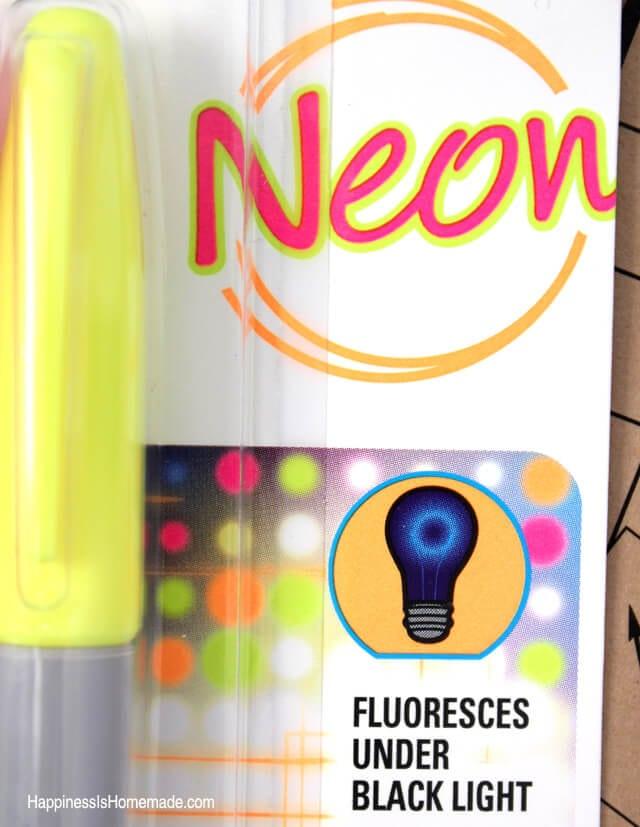 Neon Sharpie Glows Under Black Light