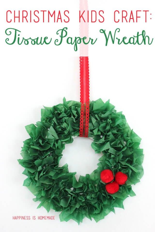 Christmas Kids Craft - Tissue Paper Wreath