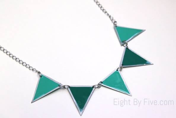 DIY Pennant Banner Necklace from Paint Chips 2