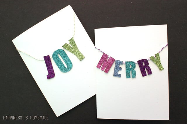 Glittered Chipboard Banner Holiday Cards