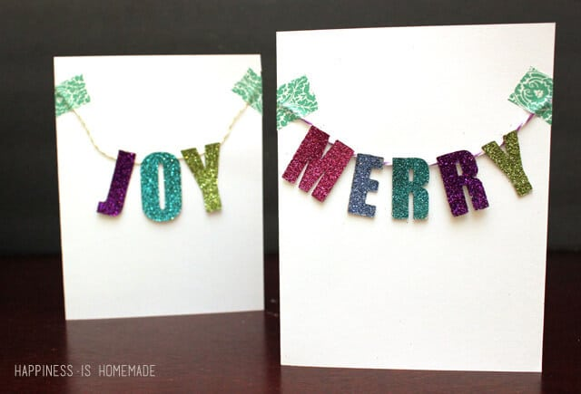 Holiday Cards with Chipboard Banners and Recollections Glitter