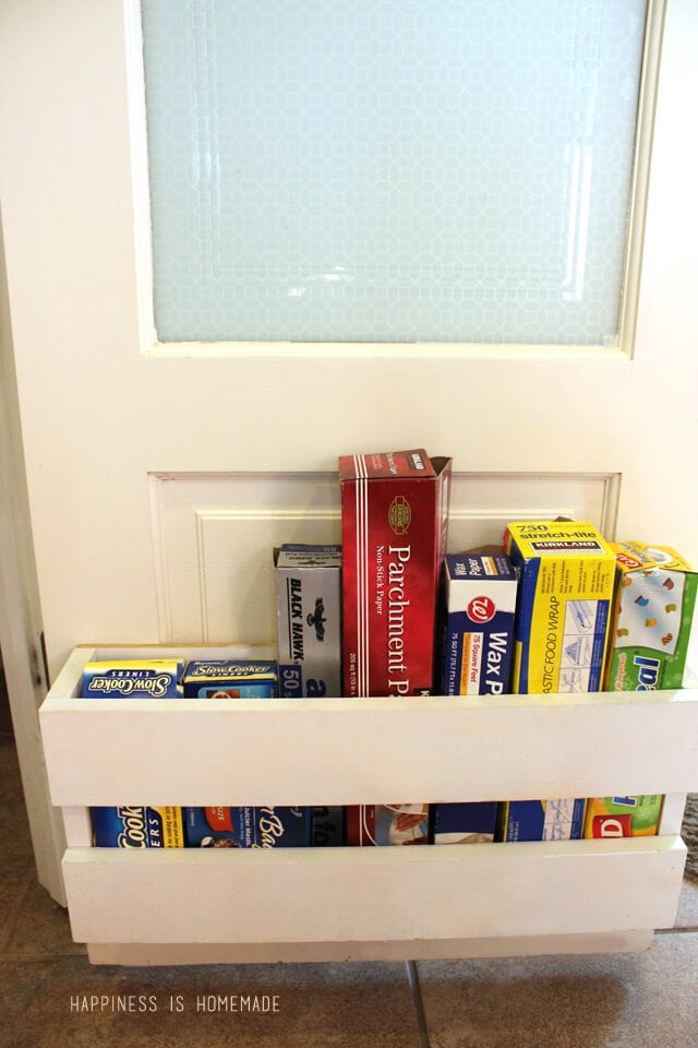 Foil and Wrap Storage Holder Inside the Pantry Doors