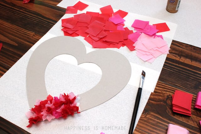How to Make a Tissue Paper Heart Wreath