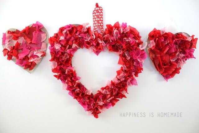 Kids Craft - Tissue Paper Heart Valentine's Day Wreath