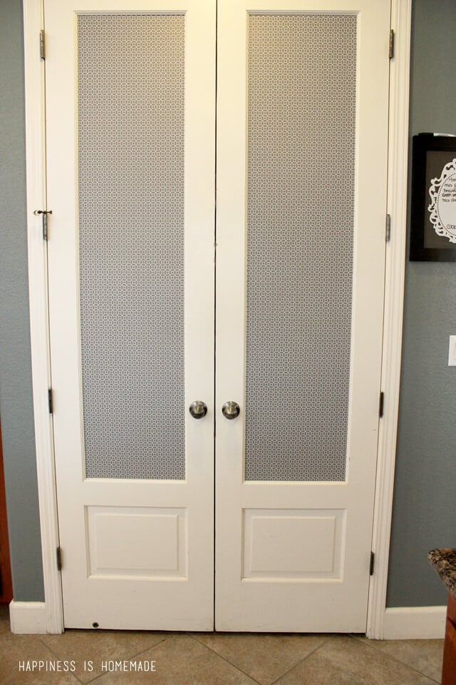 Pantry Door Makeover with Patterned Shelf Paper
