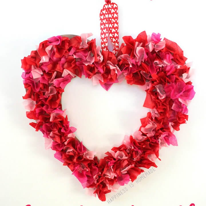 Kids Craft Tissue Paper Heart Wreath Happiness Is Homemade