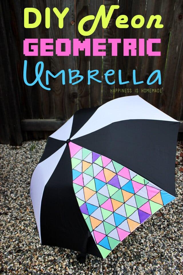 DIY Neon Fabric Painted Geometric Umbrella