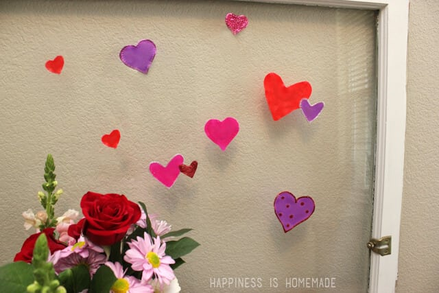 DIY Valentine's Day Heart Window Clings with Elmer's Glue