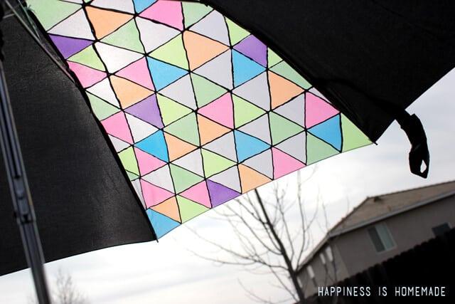 Geometric Neon Painted Umbrella