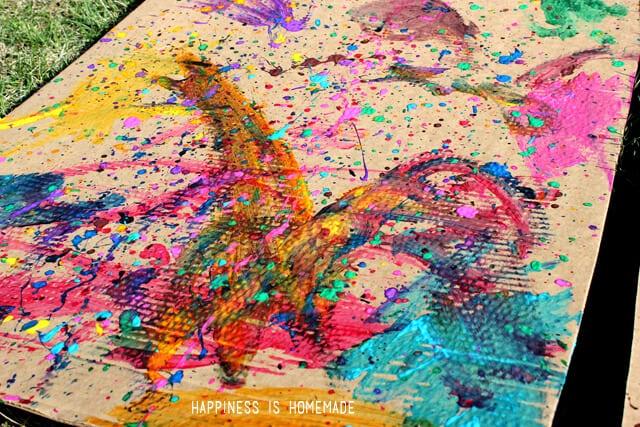 Oversized Outdoor Splatter Painting a la Jackson Pollock