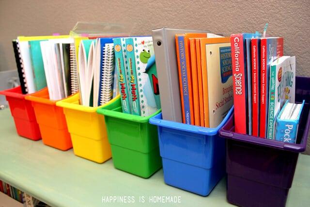 Homeschool Book Organizer Bins
