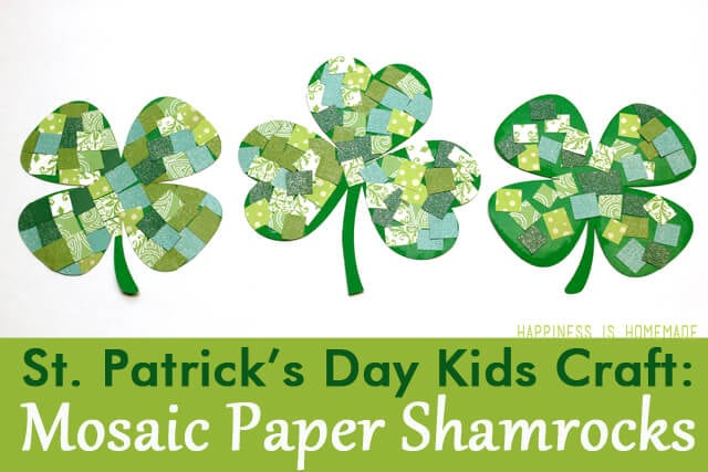 Mosaic Paper Shamrocks Kids Craft for St Patricks Day