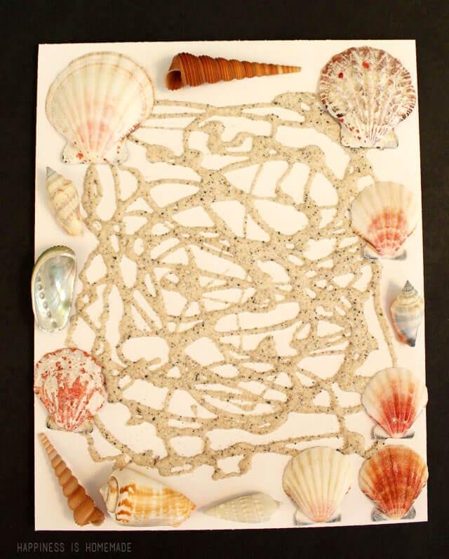 Kids Summer Craft Activity - Sand and Shell Art