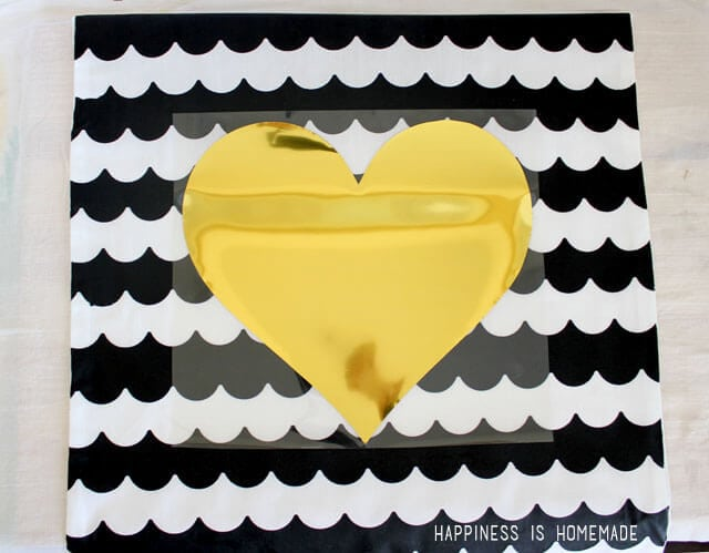 Iron on Metallic Gold Vinyl Heart Pillow