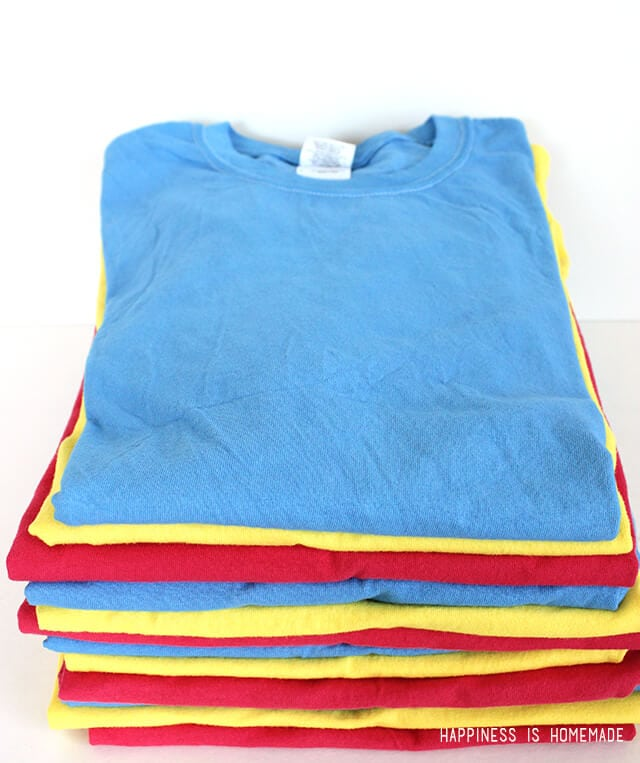 Stack of Brightly Dyed T-Shirts