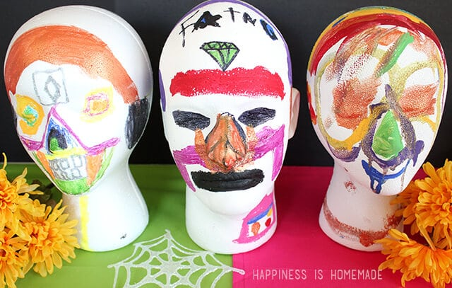 Foam Sugar Skulls Kids Craft for Dia de los Muertos