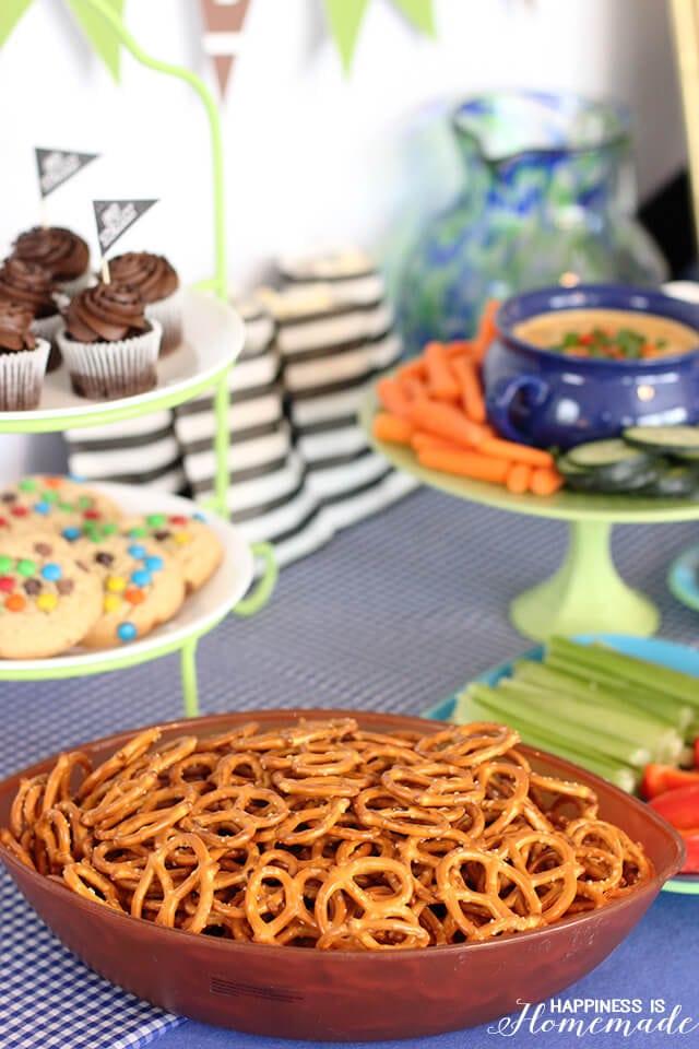 Football Party Food Table Setup