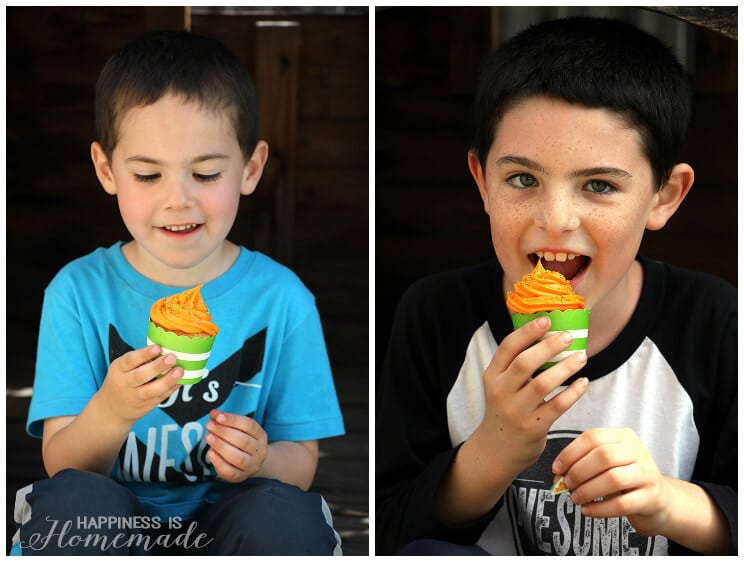 Eating Messy Orange and Lime Green Cupcakes