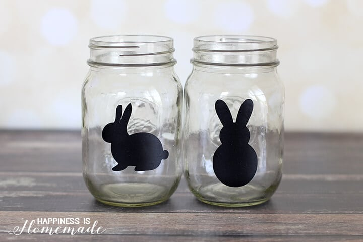 Glass mason jars with bunny stickers