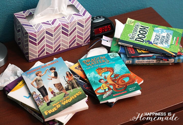 Kids Chapter Books on Nightstand