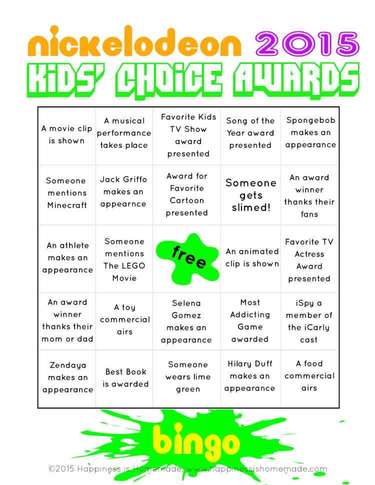 Kids Choice Awards Bingo 2