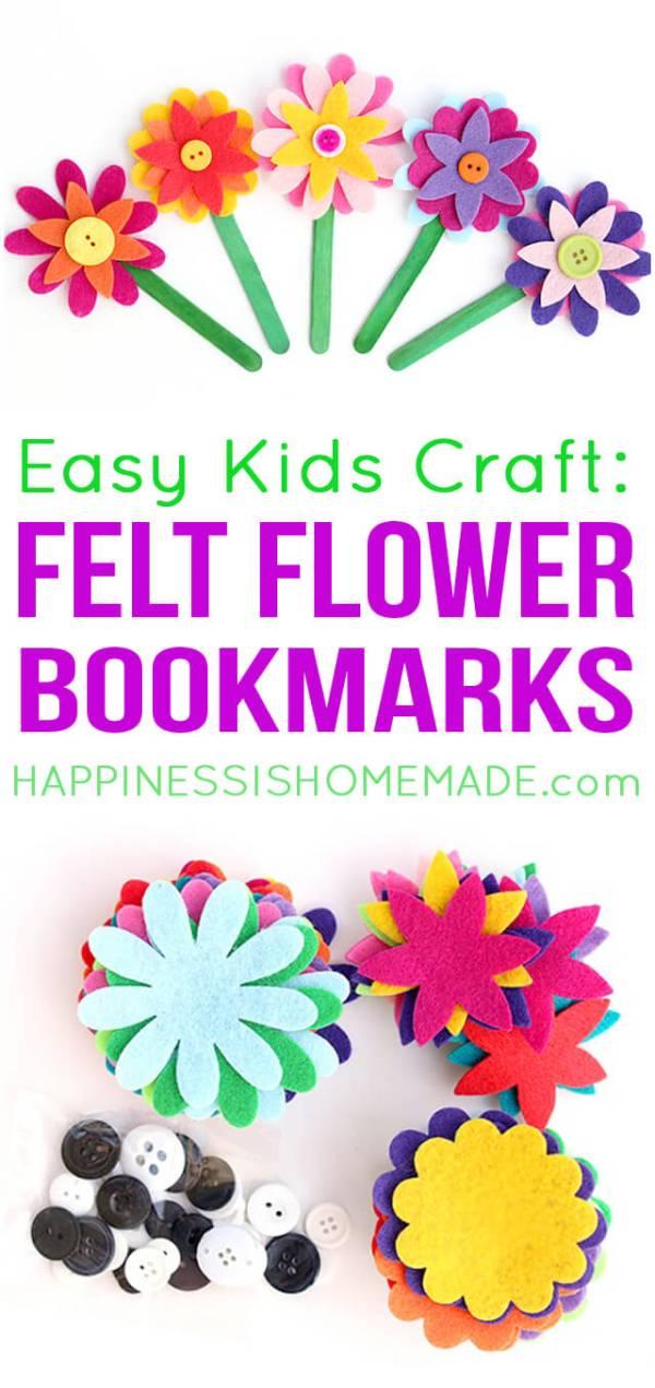 Estes marcadores de flor de feltro são os mais fofos!  Além disso, eles são super rápidos e fáceis de fazer, então eles são o artesão perfeito para crianças de todas as idades!