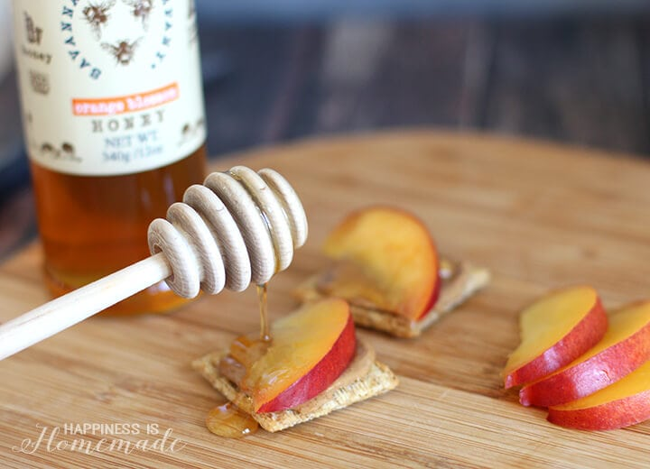 Honey Drizzled Nectarine and Almond Butter Triscuit Crackers