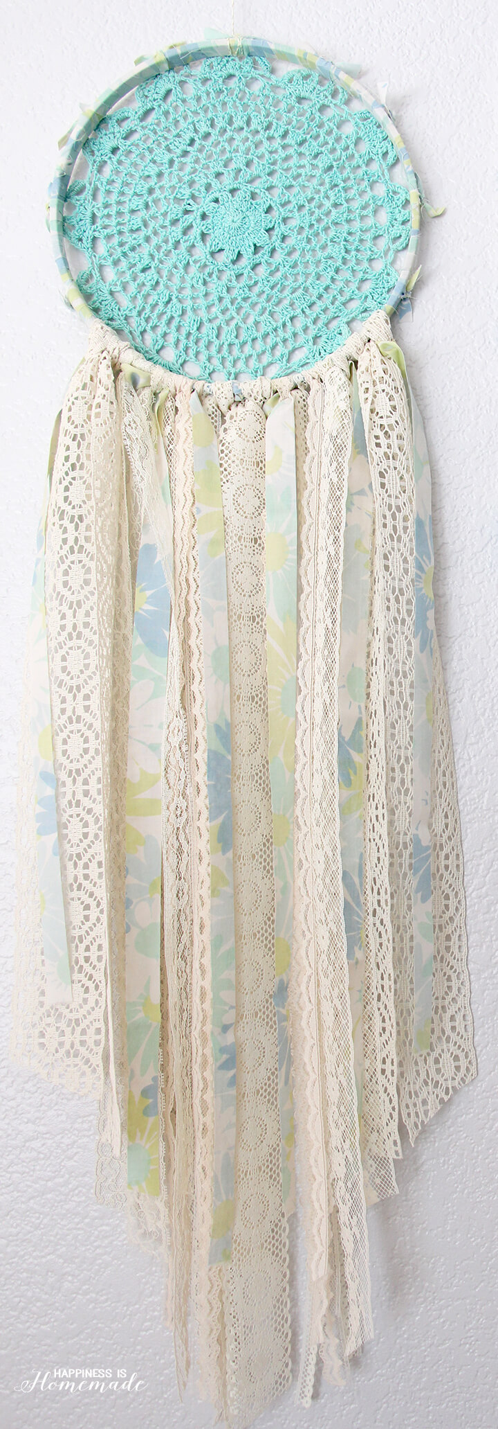 Vintage Sheet and Lace Doily Dream Catcher
