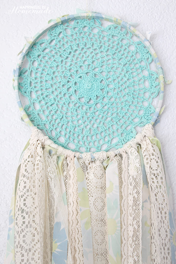 Vintage Sheet and Lace Dream Catcher