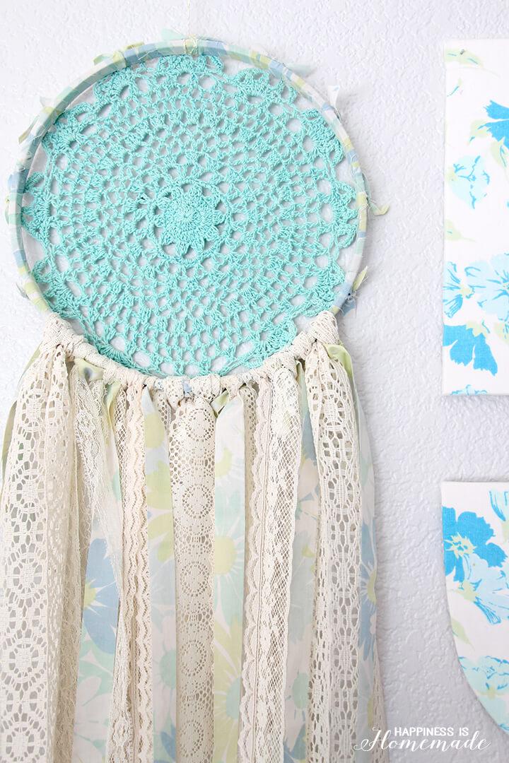 Vintage Sheet and Lace Dreamcatcher