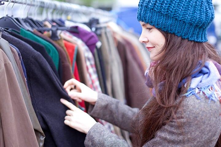 Organized Clothing Display at a Garage Yard Sale