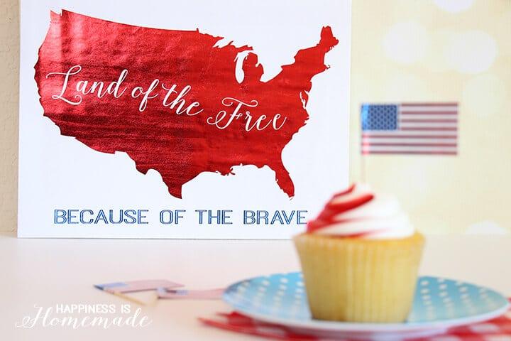 Land of the Free USA Printable with Metallic Foil
