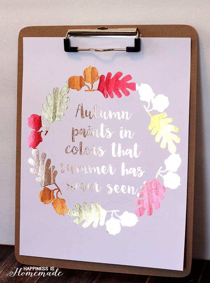 Gorgeous Shine from this Minc Foiled Autumn Printable