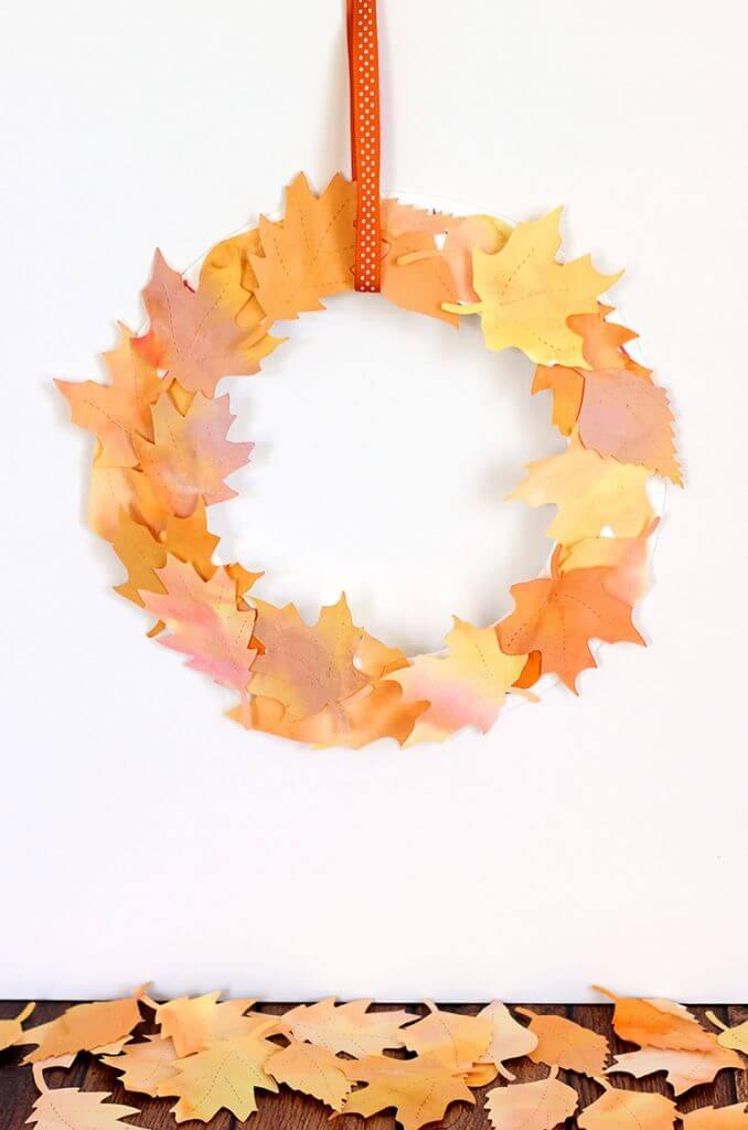 Watercolor Paper Leaf Wreath