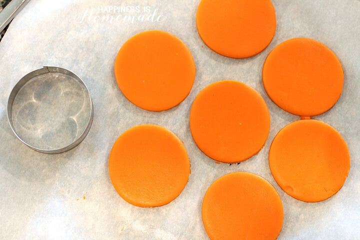 Orange Circles of Cookie Dough for Owl Cookies