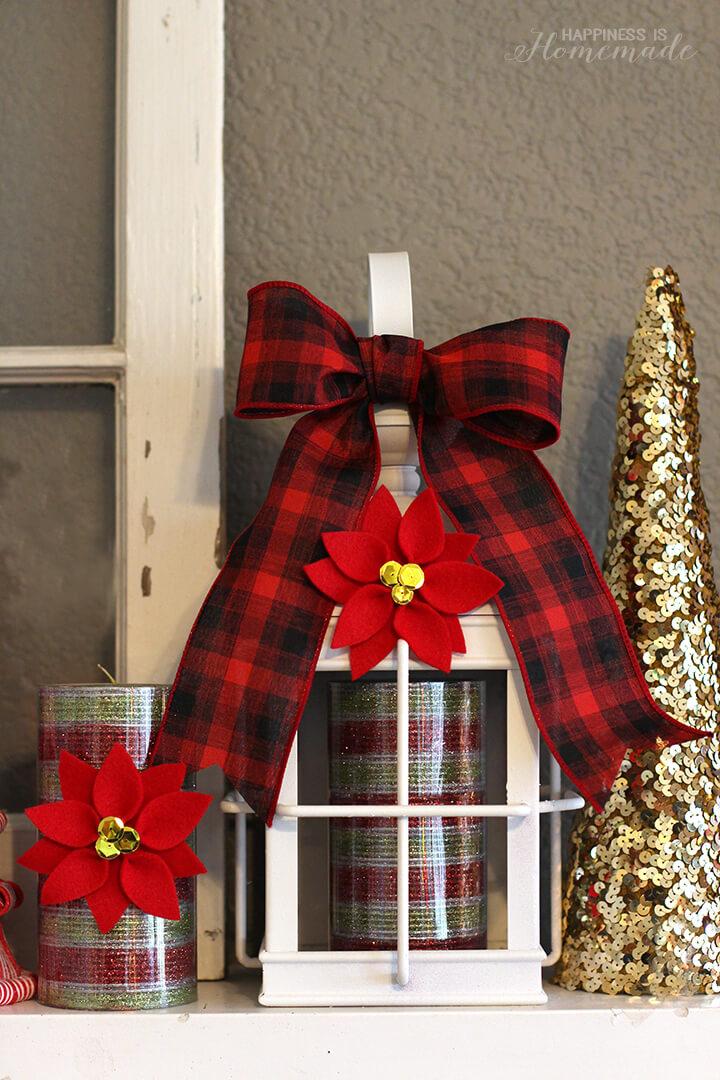 Christmas Candles Centerpiece with Felt Poinsettias